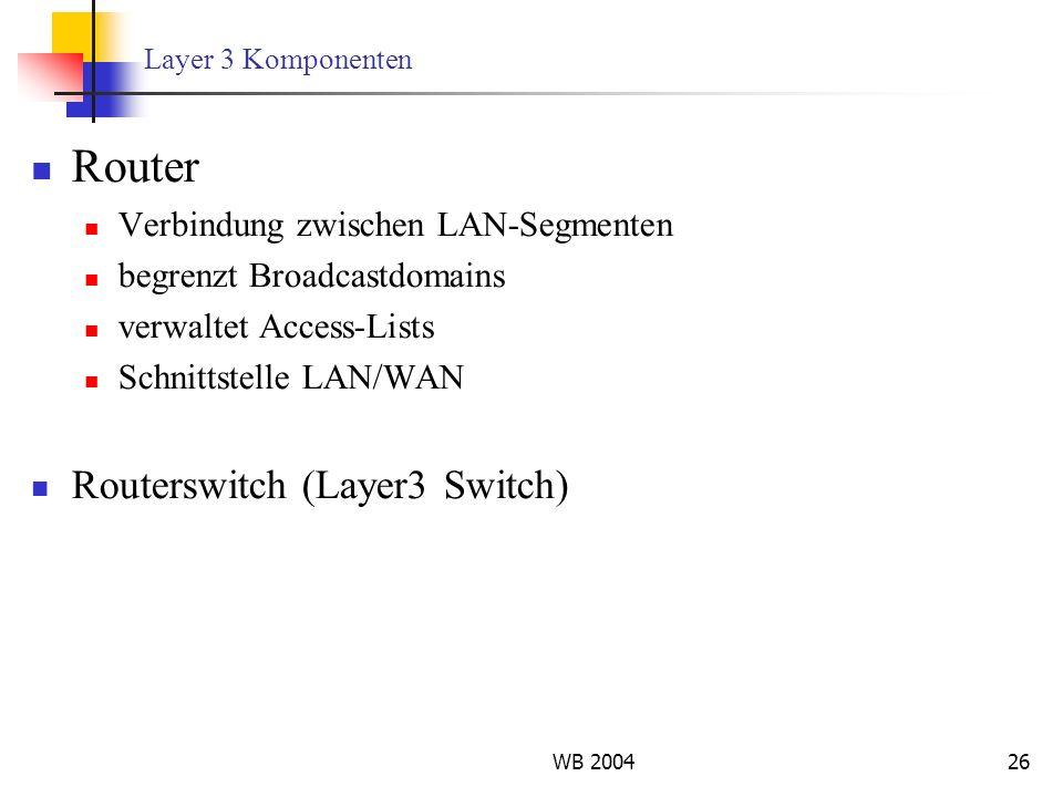 Router Routerswitch (Layer3 Switch) Verbindung zwischen LAN-Segmenten
