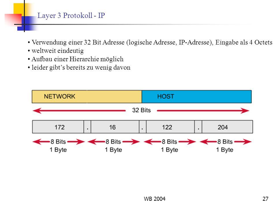 Layer 3 Protokoll - IP Verwendung einer 32 Bit Adresse (logische Adresse, IP-Adresse), Eingabe als 4 Octets.