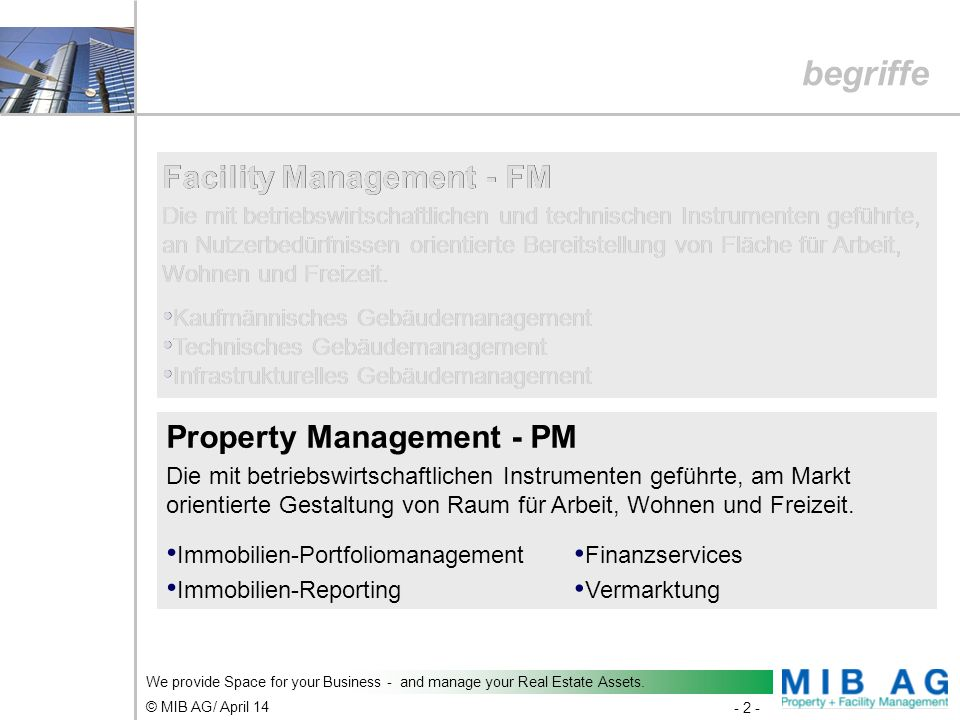 begriffe Facility Management - FM Facility Management - FM