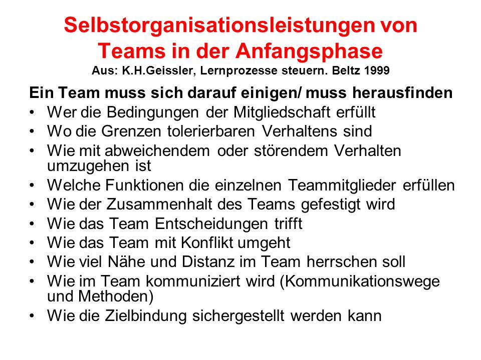 Selbstorganisationsleistungen von Teams in der Anfangsphase Aus: K. H