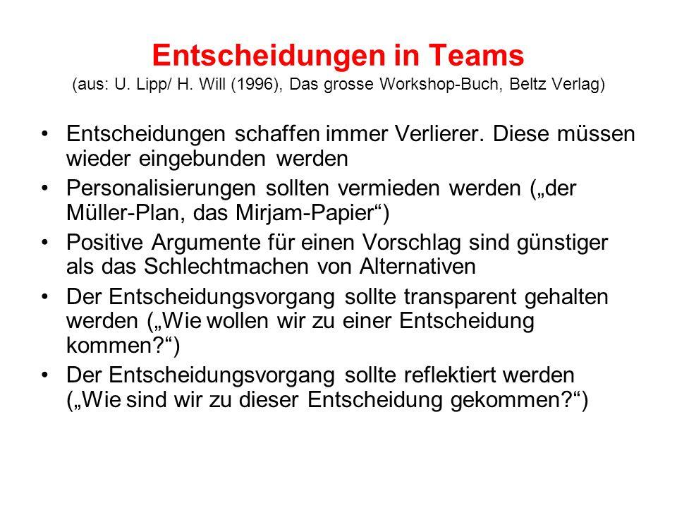 Entscheidungen in Teams (aus: U. Lipp/ H