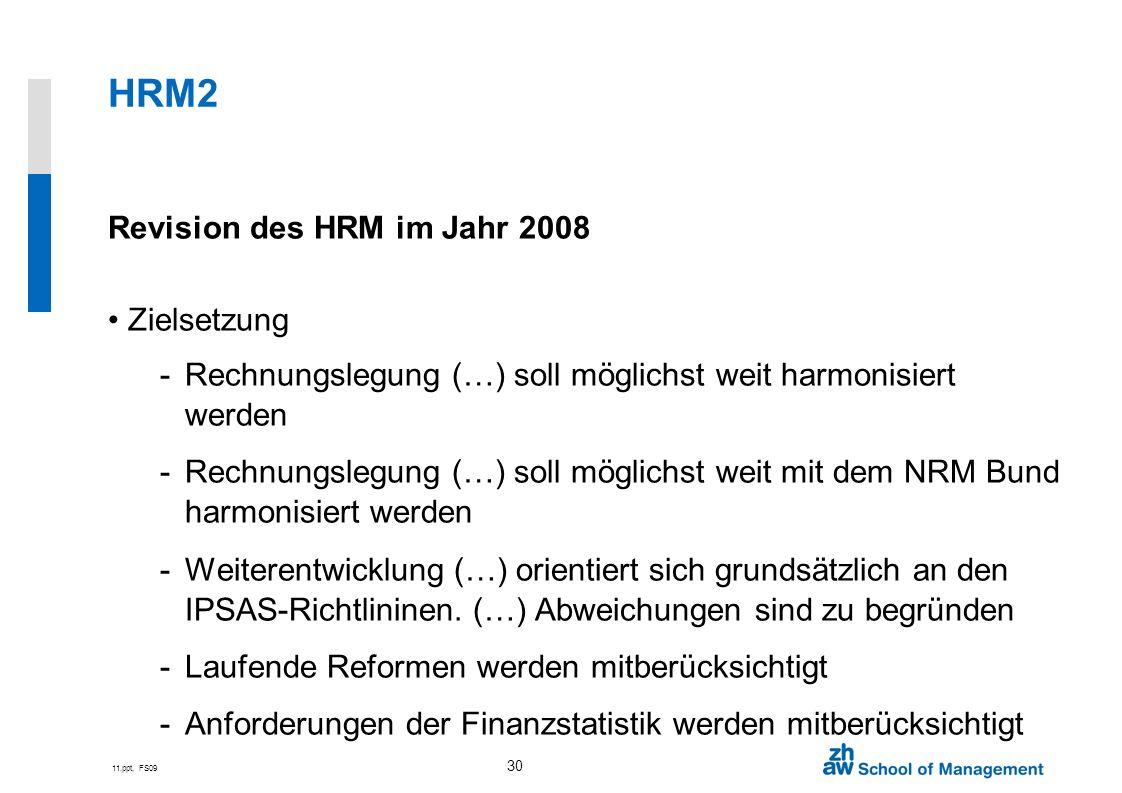 HRM2 Revision des HRM im Jahr 2008 Zielsetzung