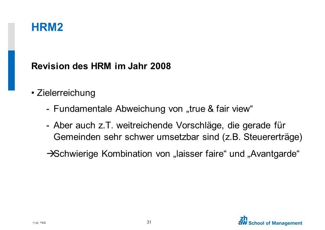 HRM2 Revision des HRM im Jahr 2008 Zielerreichung