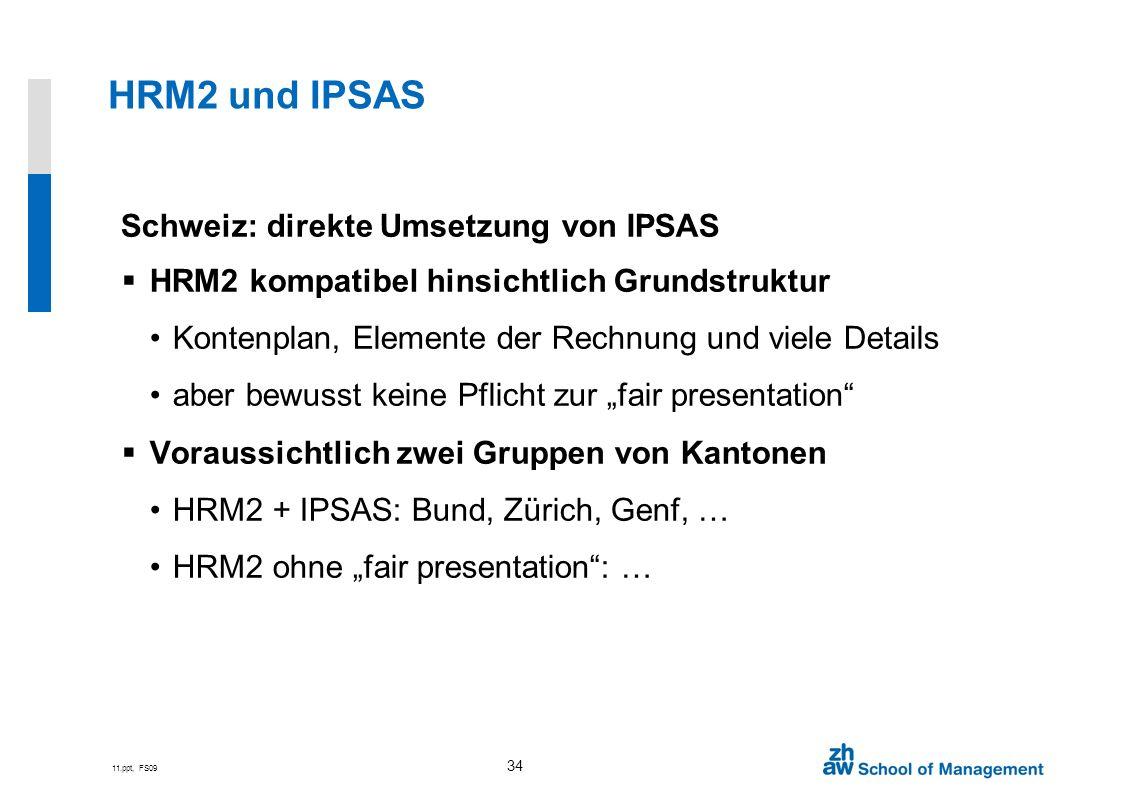 HRM2 und IPSAS Schweiz: direkte Umsetzung von IPSAS