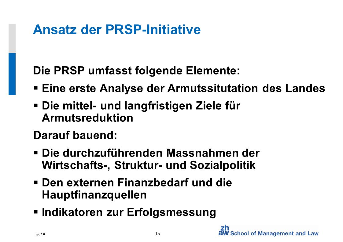 Ansatz der PRSP-Initiative