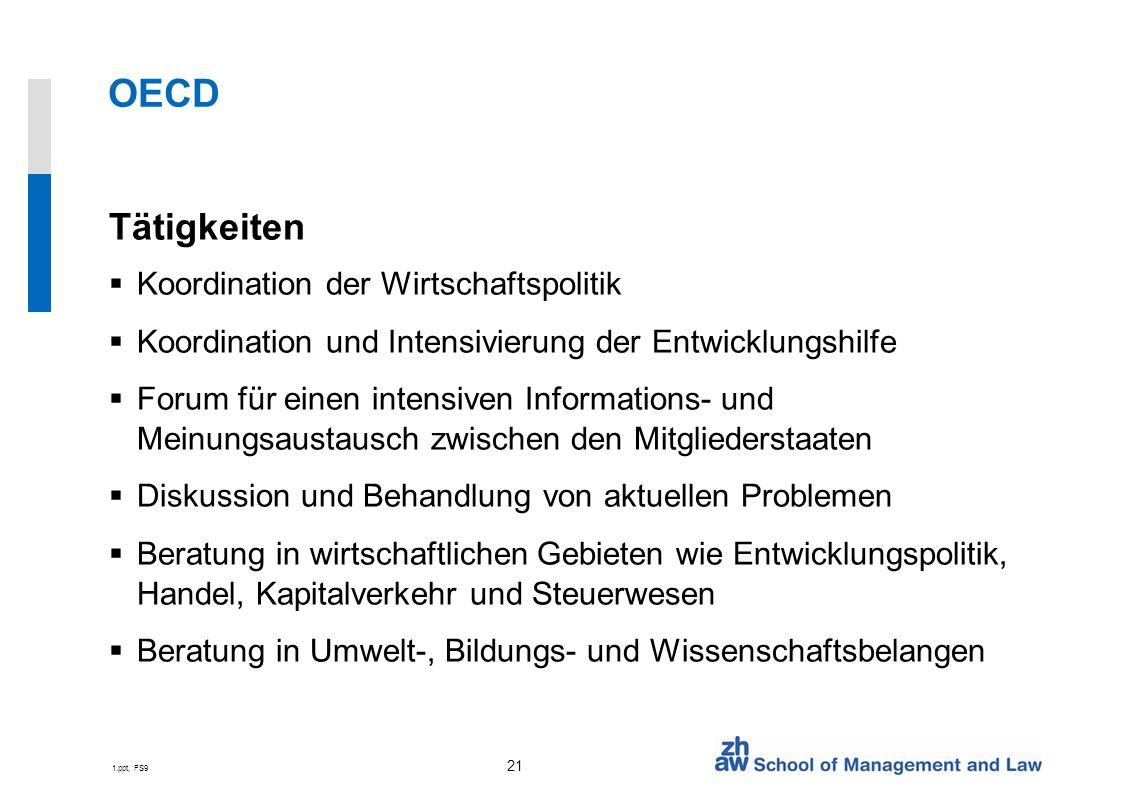 OECD Tätigkeiten Koordination der Wirtschaftspolitik