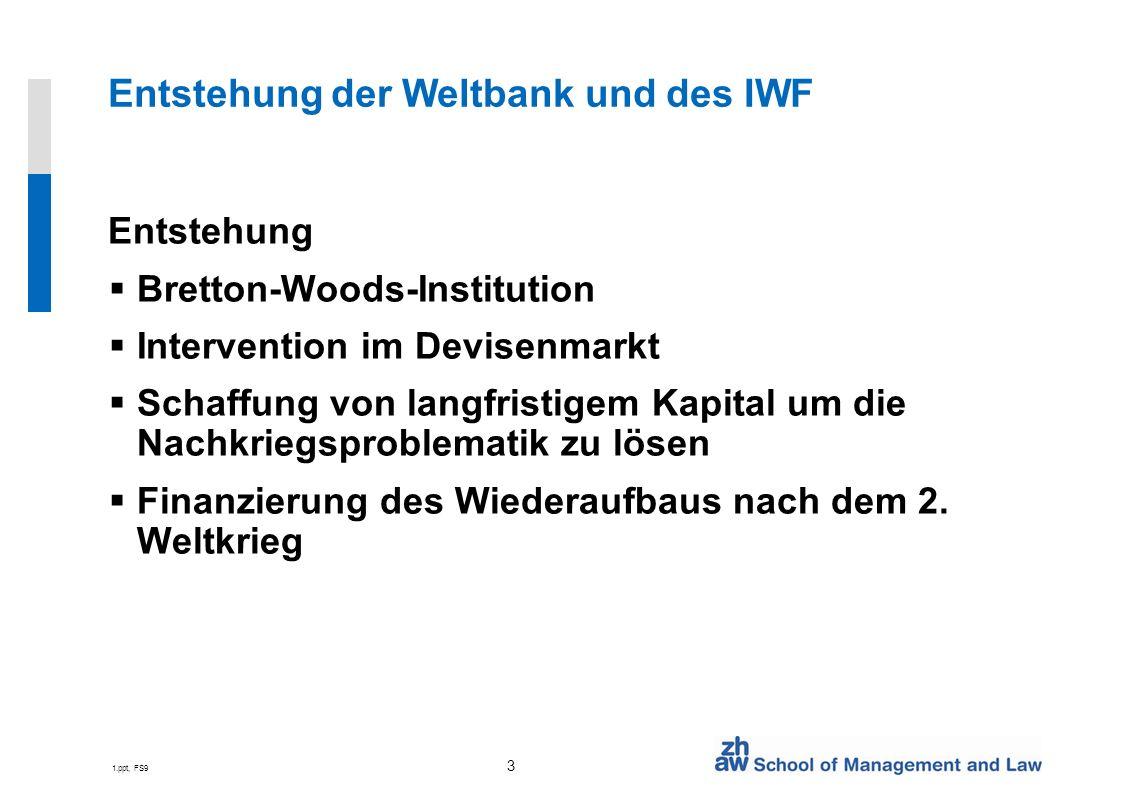 Entstehung der Weltbank und des IWF