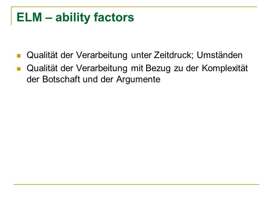 ELM – ability factors Qualität der Verarbeitung unter Zeitdruck; Umständen.