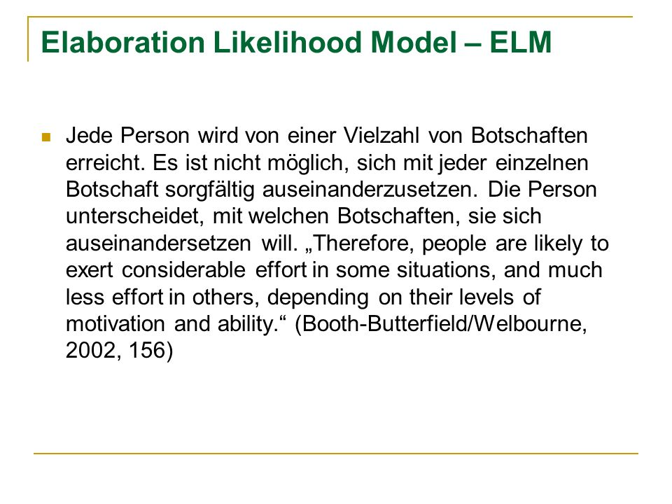 Elaboration Likelihood Model – ELM
