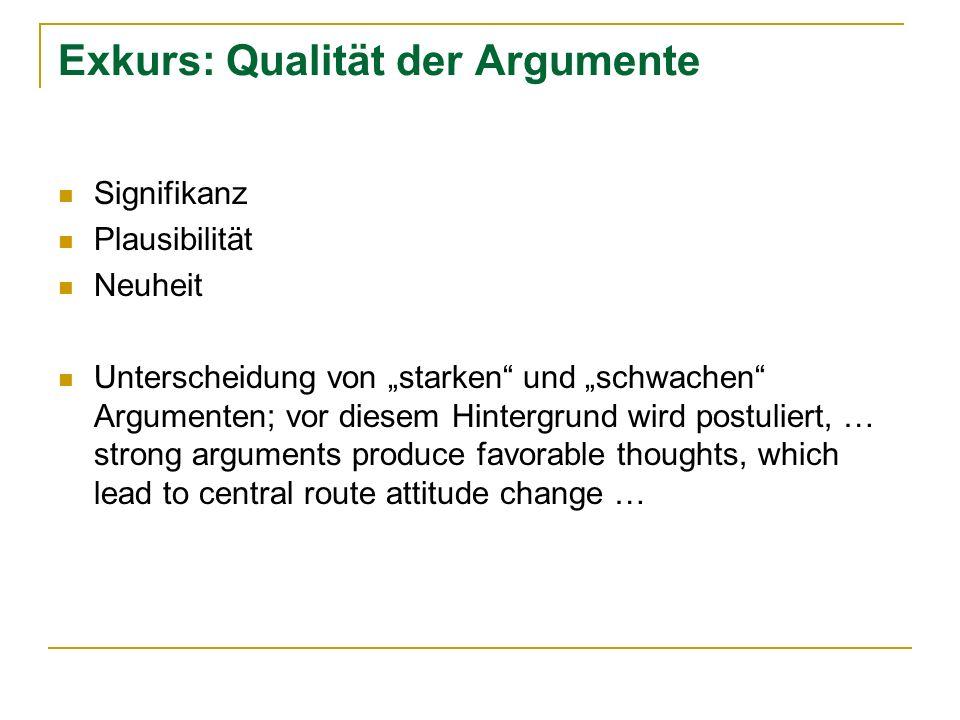 Exkurs: Qualität der Argumente