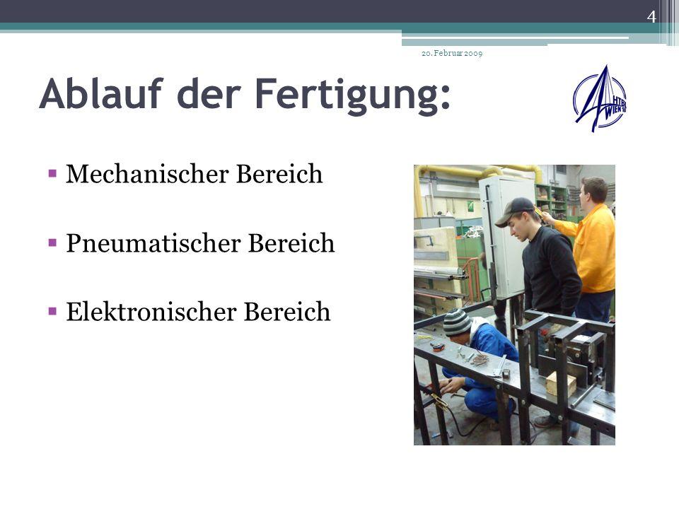 Ablauf der Fertigung: Mechanischer Bereich Pneumatischer Bereich