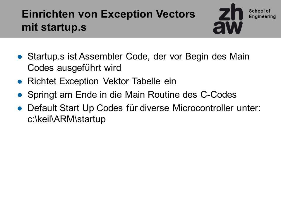 Einrichten von Exception Vectors mit startup.s
