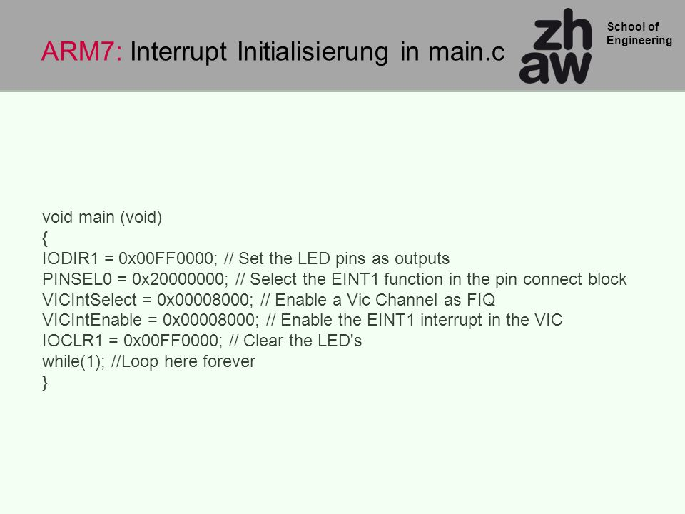 ARM7: Interrupt Initialisierung in main.c