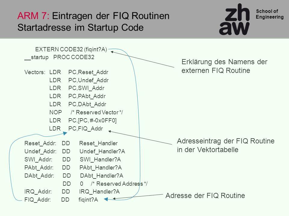 ARM 7: Eintragen der FIQ Routinen Startadresse im Startup Code