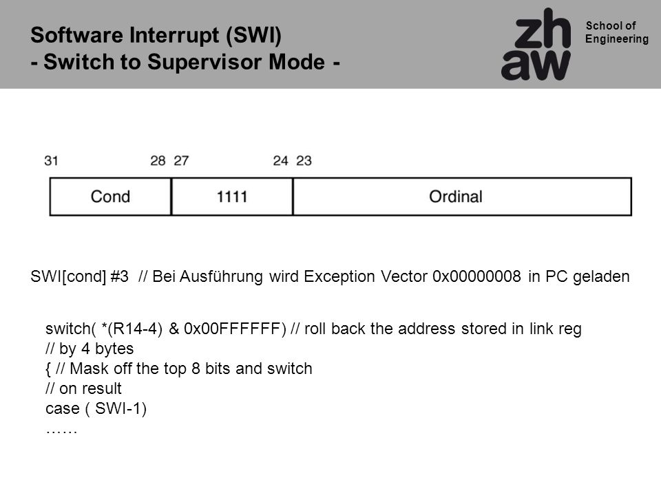 Software Interrupt (SWI) - Switch to Supervisor Mode -