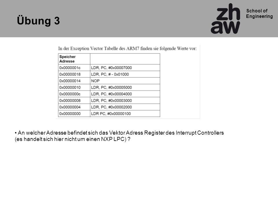 Übung 3 An welcher Adresse befindet sich das Vektor Adress Register des Interrupt Controllers.