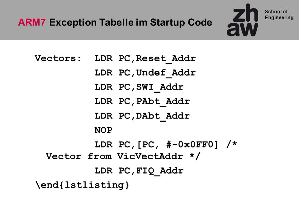ARM7 Exception Tabelle im Startup Code