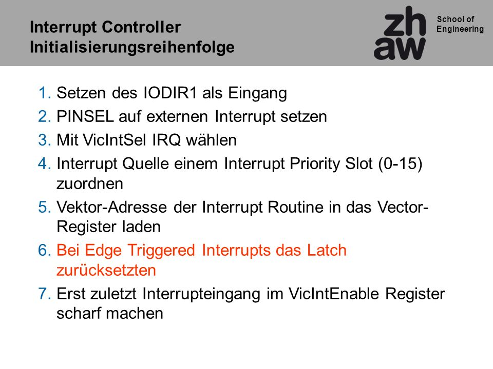 Interrupt Controller Initialisierungsreihenfolge