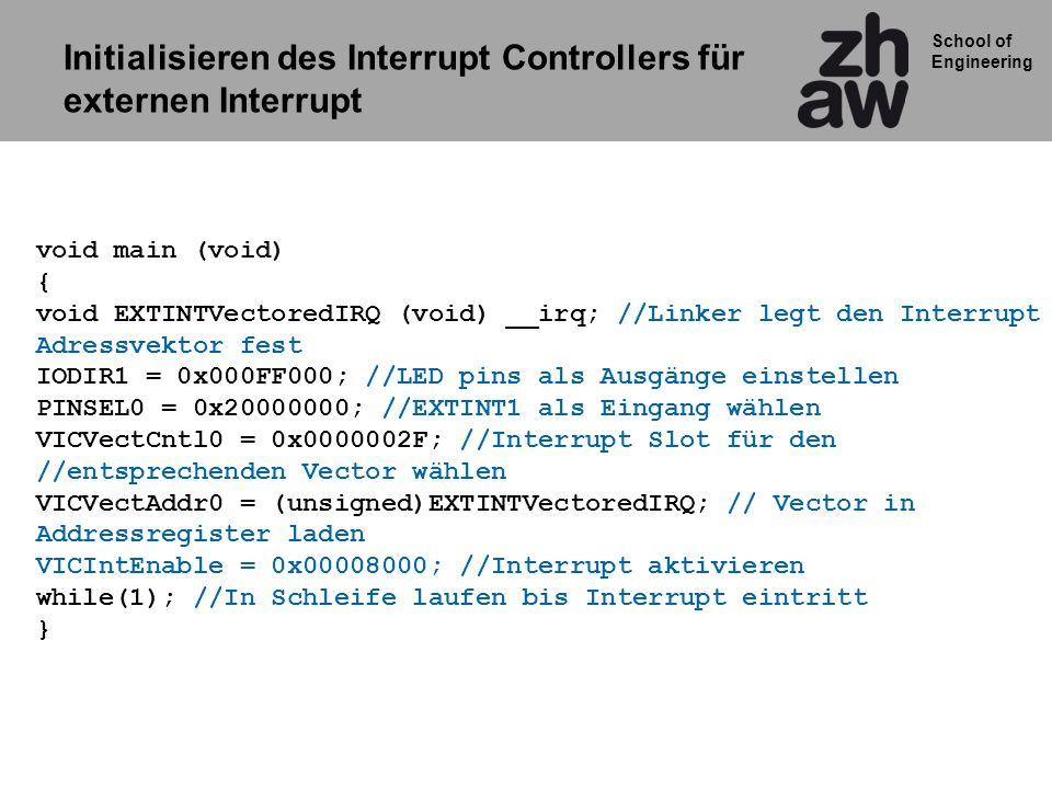 Initialisieren des Interrupt Controllers für externen Interrupt
