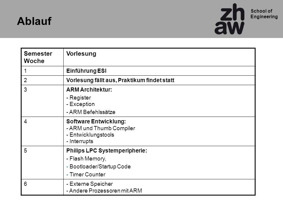 Ablauf Semester Woche Vorlesung 1 Einführung ESI 2