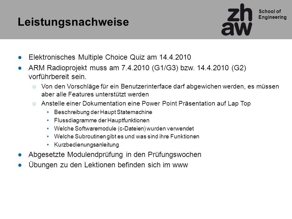 Leistungsnachweise Elektronisches Multiple Choice Quiz am 14.4.2010