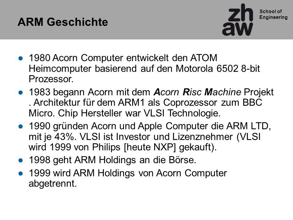 ARM Geschichte 1980 Acorn Computer entwickelt den ATOM Heimcomputer basierend auf den Motorola 6502 8-bit Prozessor.