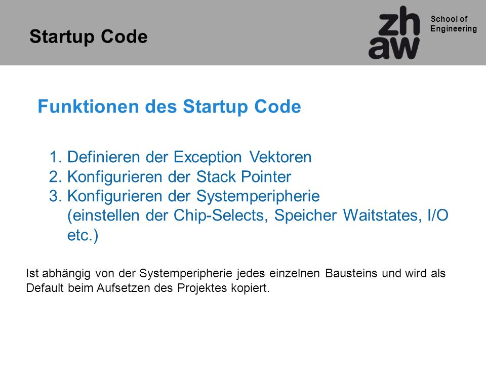 Funktionen des Startup Code