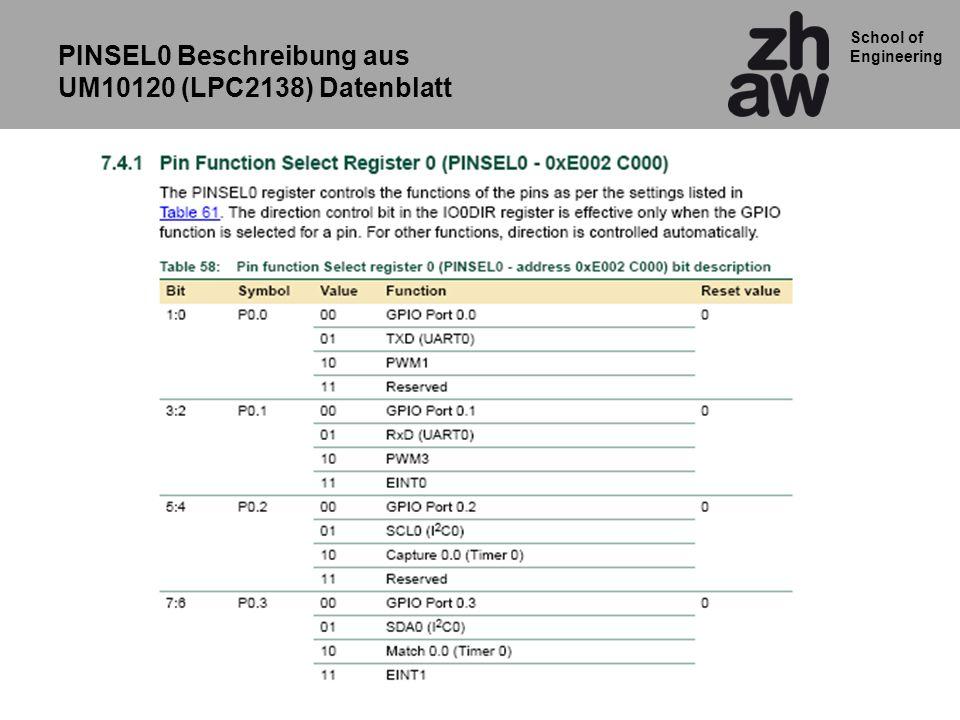 PINSEL0 Beschreibung aus UM10120 (LPC2138) Datenblatt