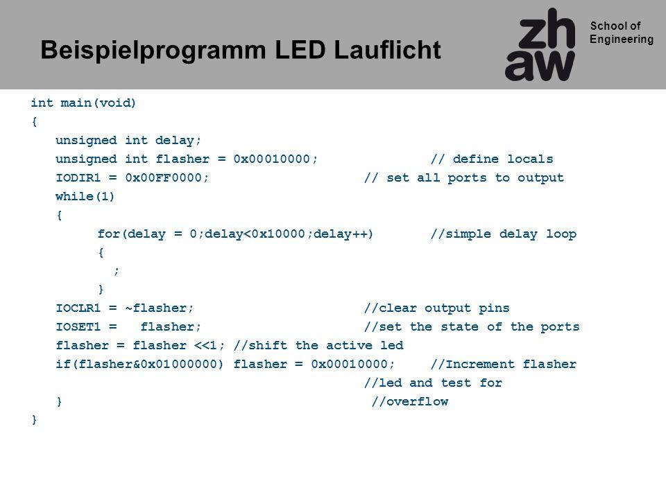 Beispielprogramm LED Lauflicht