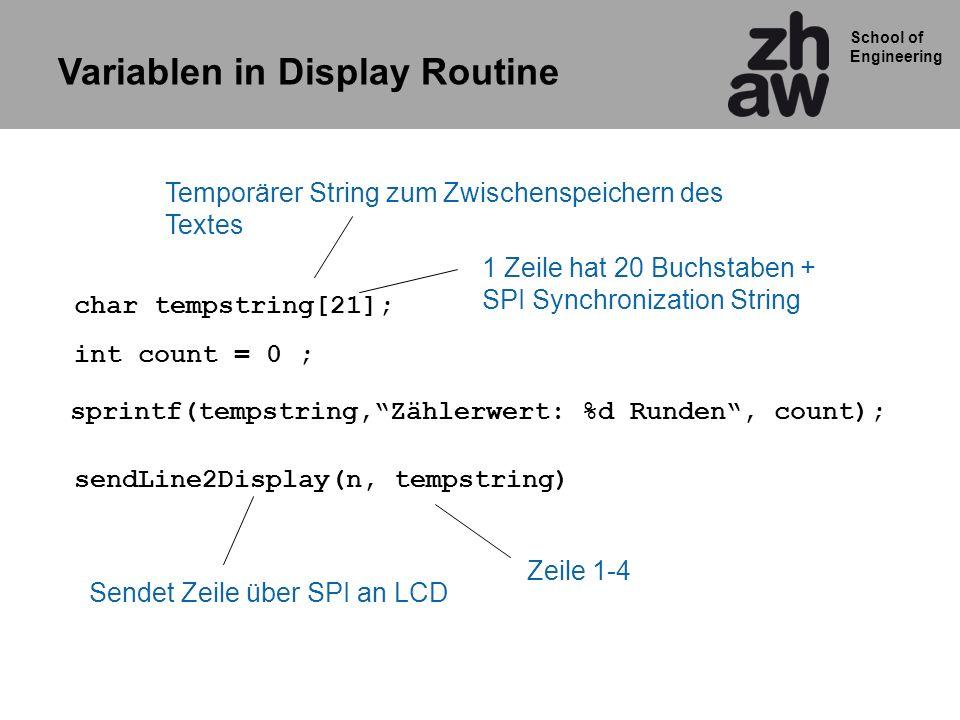 Variablen in Display Routine