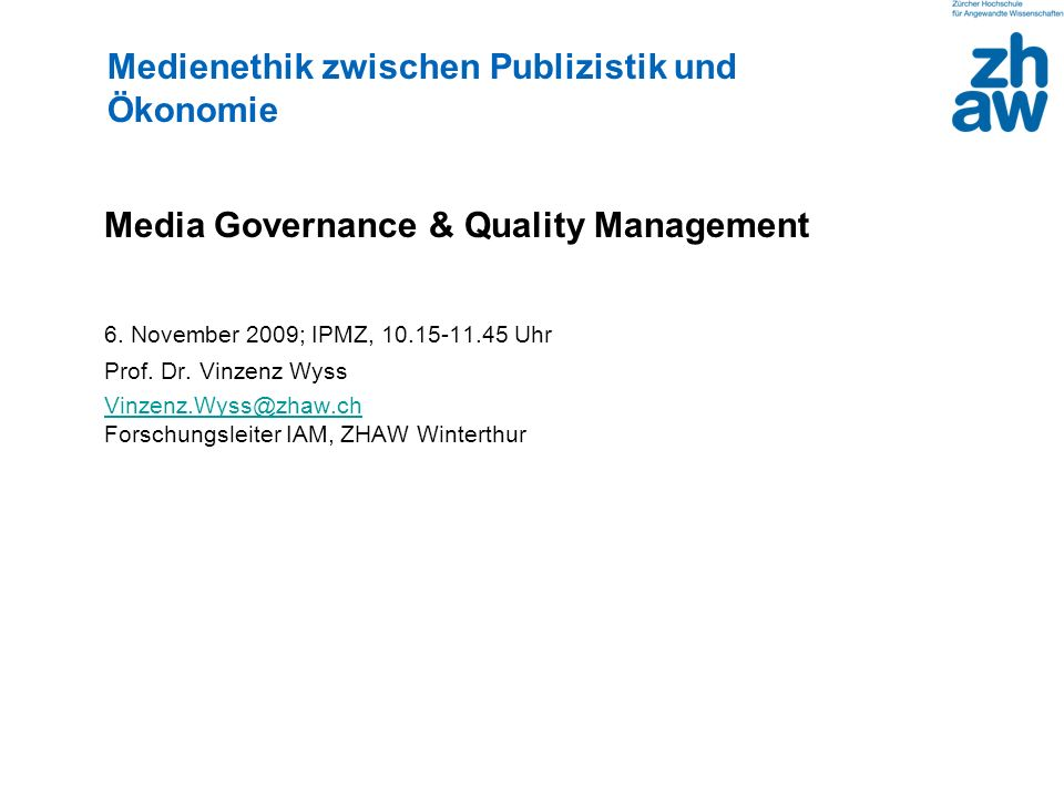 Media Governance & Quality Management