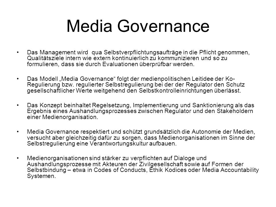 Media Governance