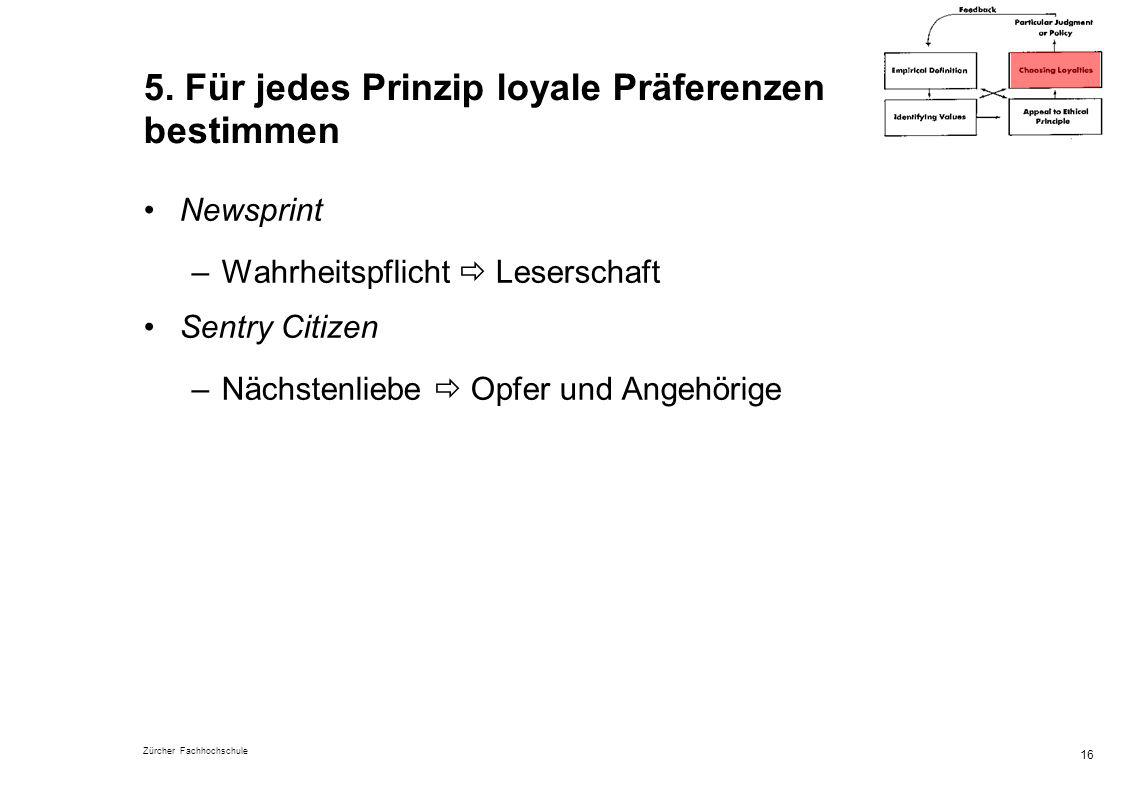 5. Für jedes Prinzip loyale Präferenzen bestimmen