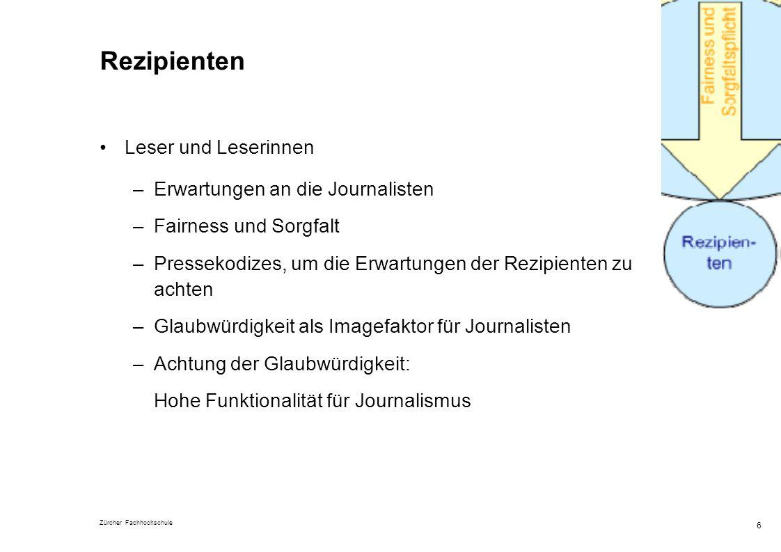 Rezipienten Leser und Leserinnen Erwartungen an die Journalisten