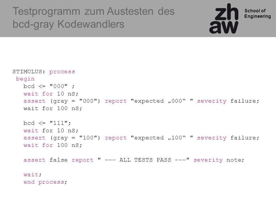 Testprogramm zum Austesten des bcd-gray Kodewandlers