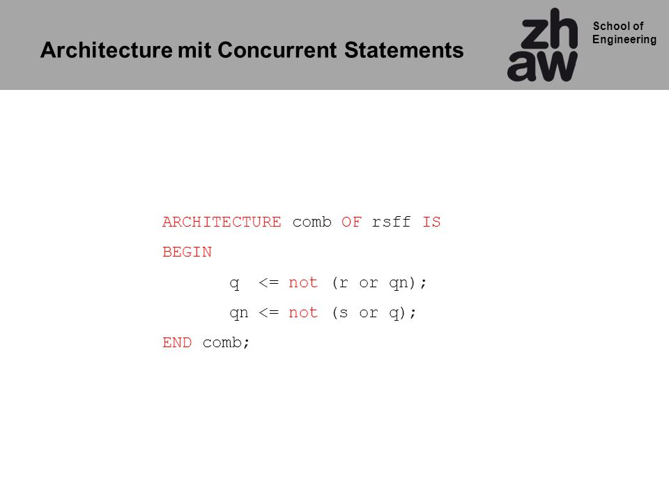 Architecture mit Concurrent Statements