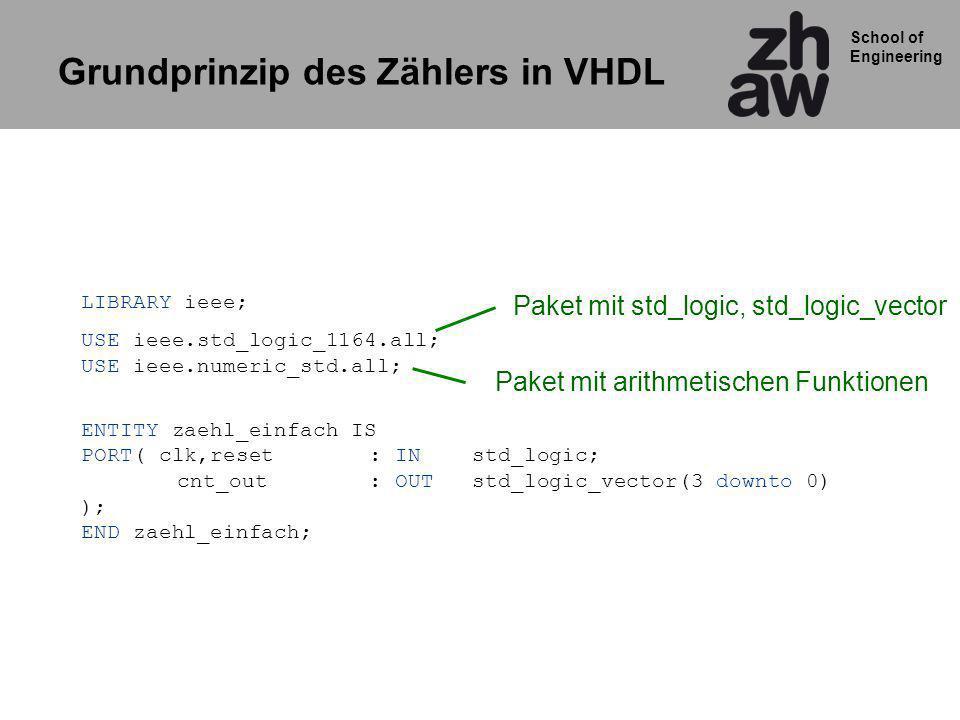 Grundprinzip des Zählers in VHDL