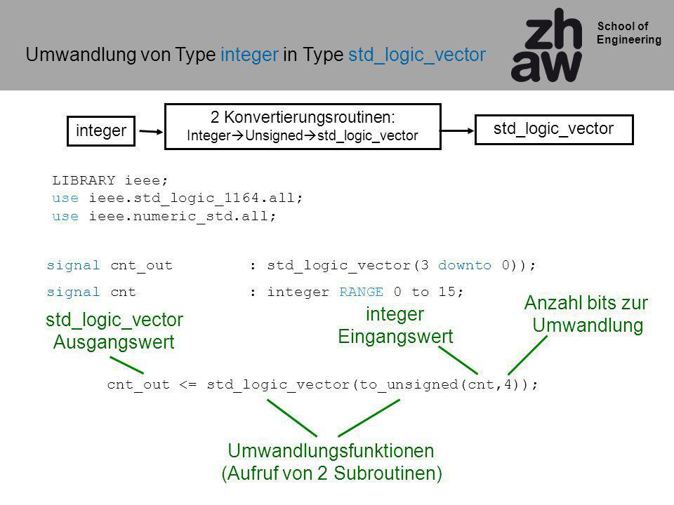 Umwandlung von Type integer in Type std_logic_vector
