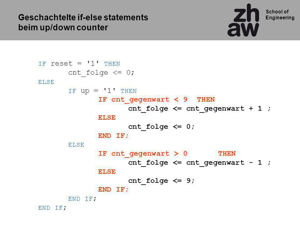 Geschachtelte if-else statements beim up/down counter