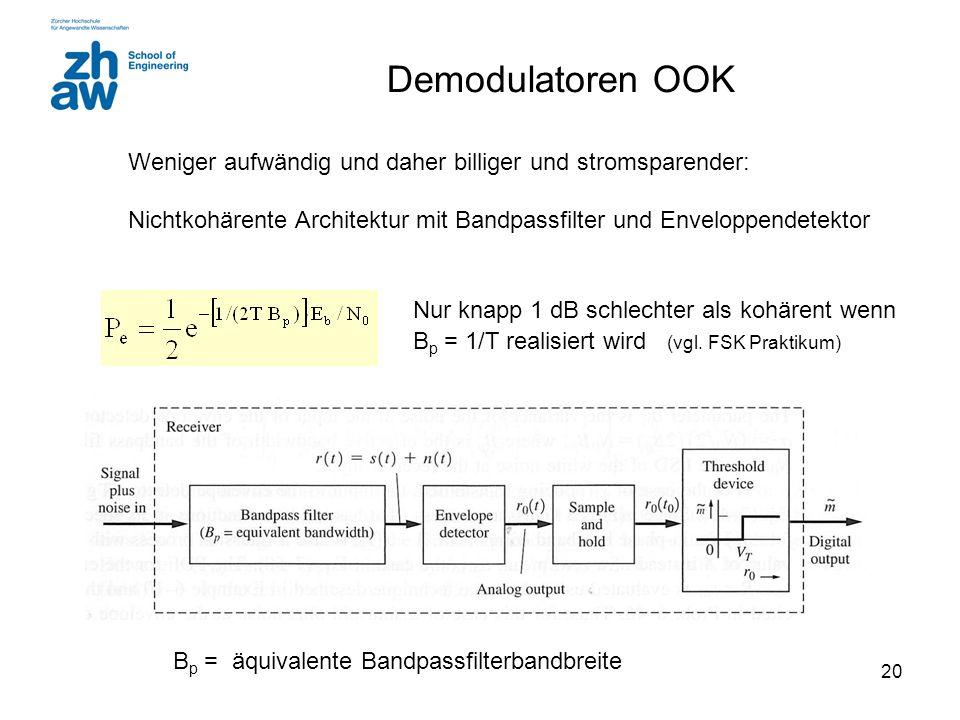 Demodulatoren OOKWeniger aufwändig und daher billiger und stromsparender: Nichtkohärente Architektur mit Bandpassfilter und Enveloppendetektor.
