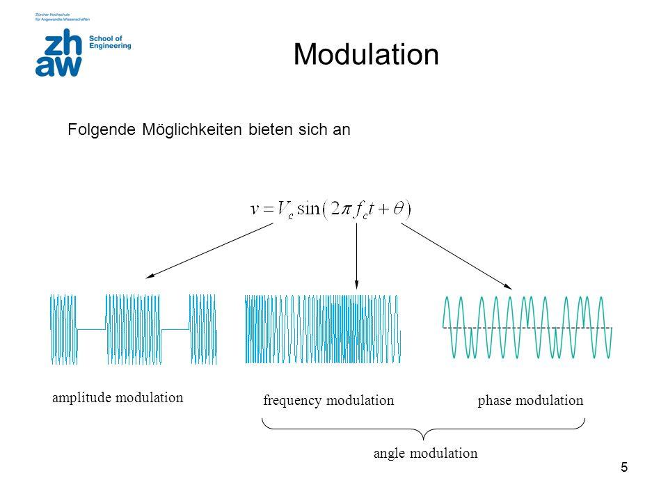 Modulation Folgende Möglichkeiten bieten sich an amplitude modulation