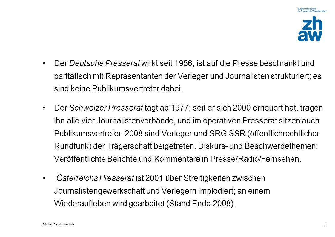 Der Deutsche Presserat wirkt seit 1956, ist auf die Presse beschränkt und paritätisch mit Repräsentanten der Verleger und Journalisten strukturiert; es sind keine Publikumsvertreter dabei.