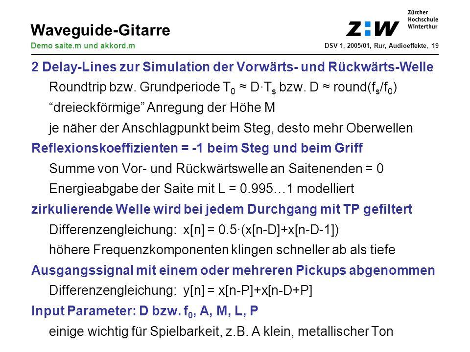 Waveguide-Gitarre Demo saite.m und akkord.m. DSV 1, 2005/01, Rur, Audioeffekte, 19. 2 Delay-Lines zur Simulation der Vorwärts- und Rückwärts-Welle.