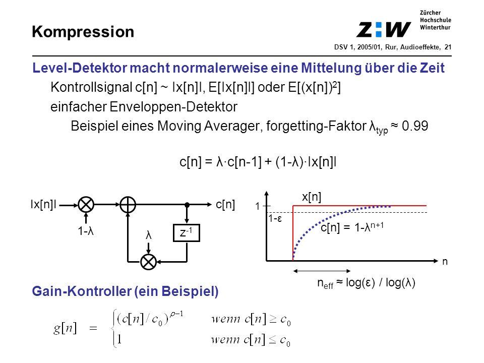 Kompression DSV 1, 2005/01, Rur, Audioeffekte, 21. Level-Detektor macht normalerweise eine Mittelung über die Zeit.