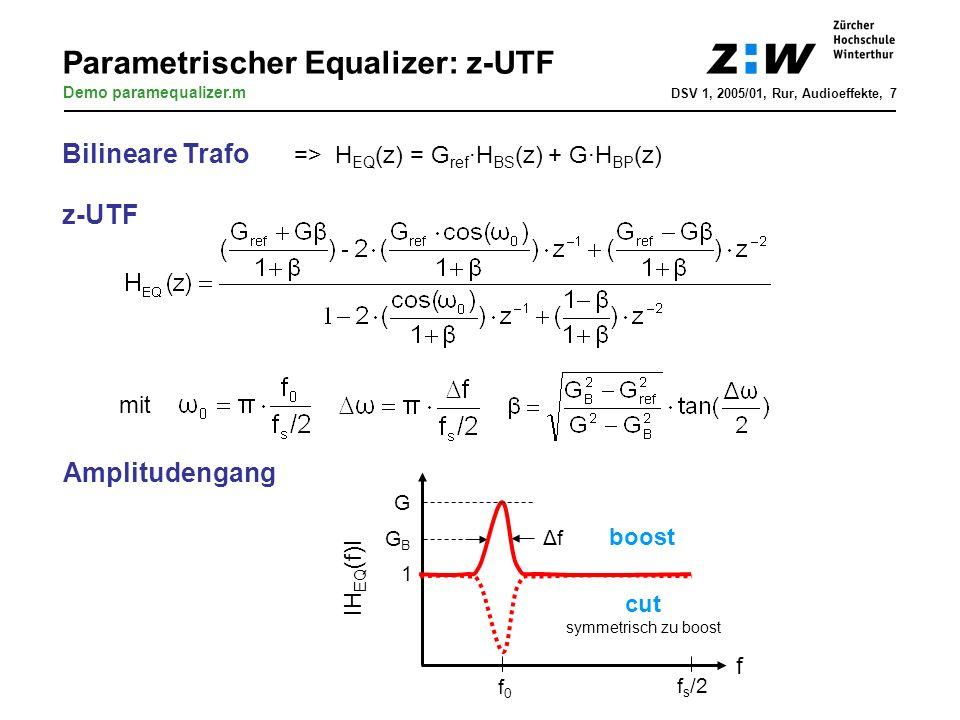 Parametrischer Equalizer: z-UTF