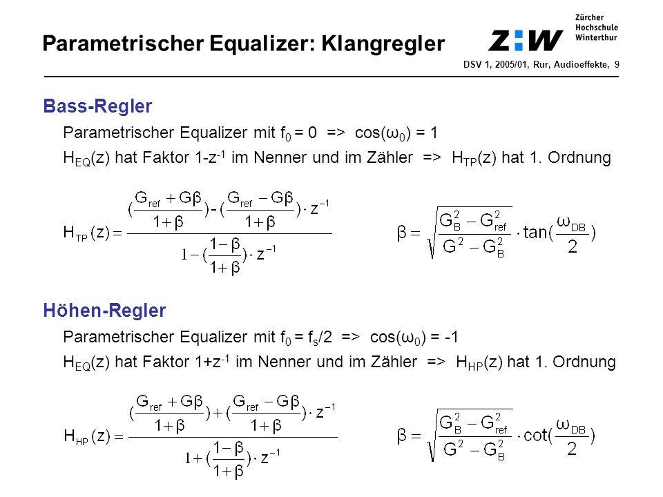 Parametrischer Equalizer: Klangregler