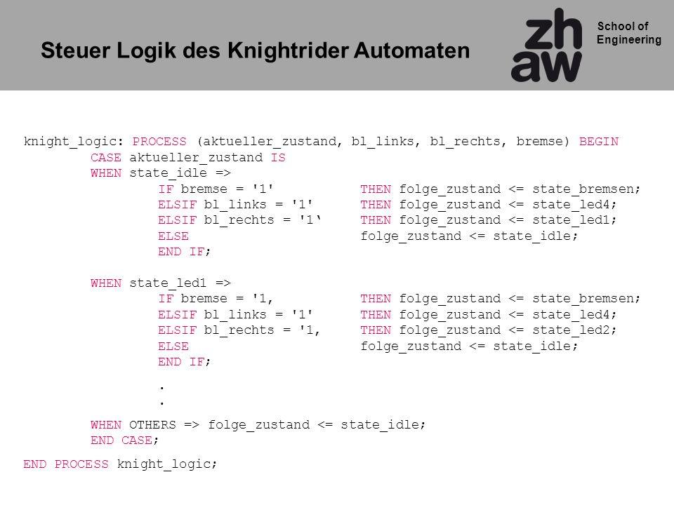 Steuer Logik des Knightrider Automaten