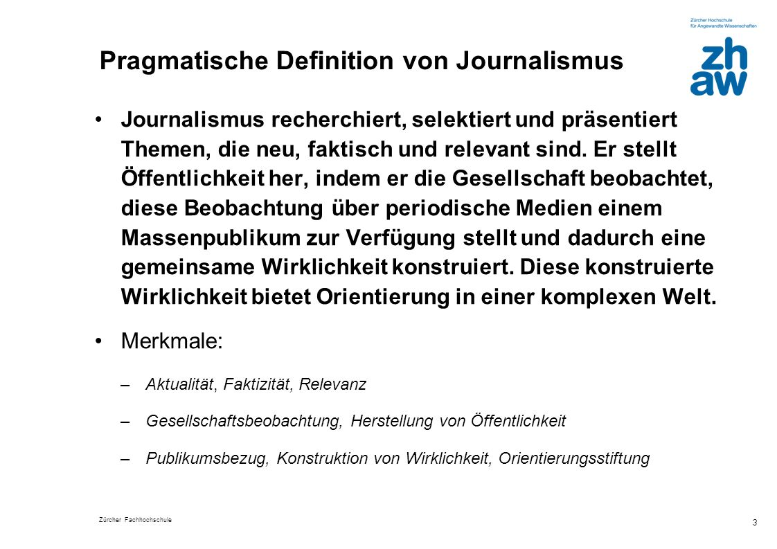 Pragmatische Definition von Journalismus