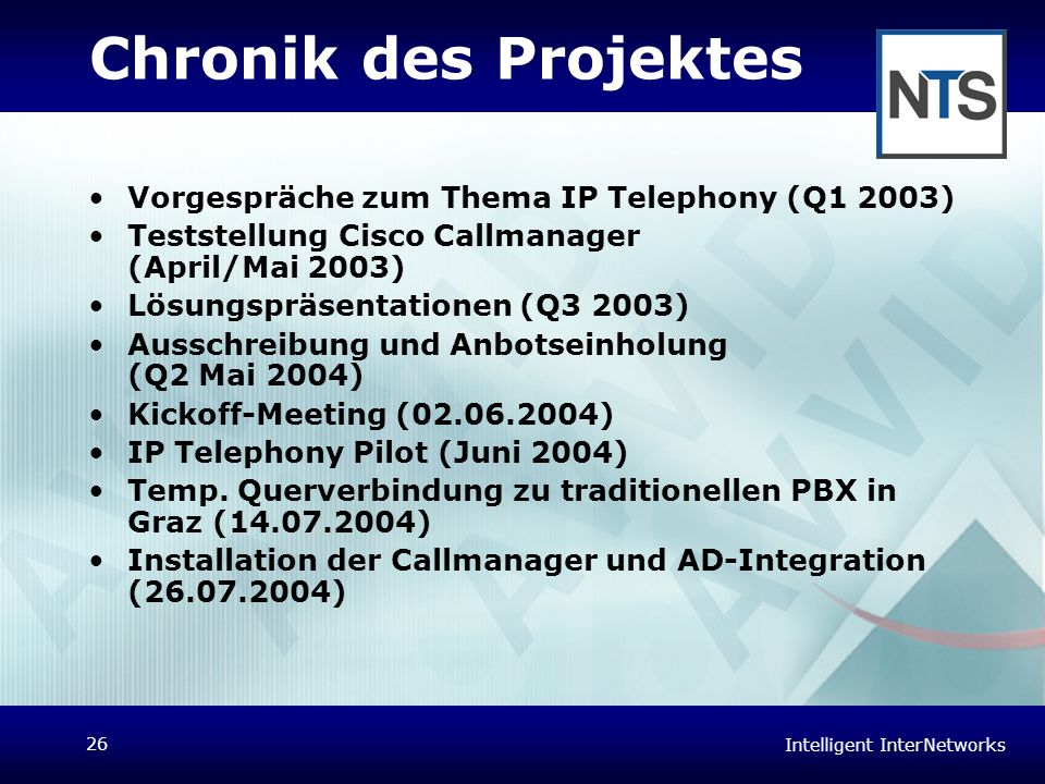 Chronik des Projektes Vorgespräche zum Thema IP Telephony (Q1 2003)