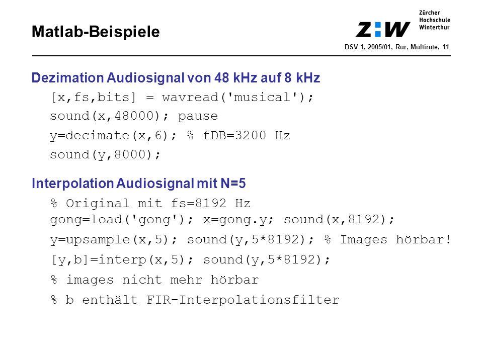 Matlab-Beispiele Dezimation Audiosignal von 48 kHz auf 8 kHz